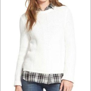 Madewell Holcomb Texture White Crew Neck Sweater